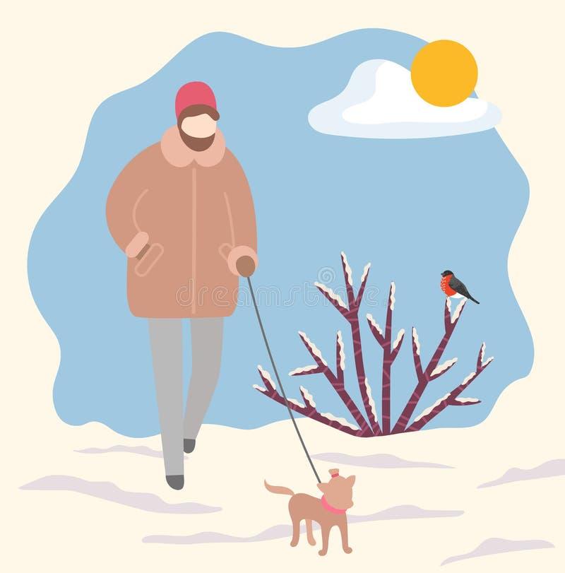 Cachorro ambulante em Leash no vetor do parque de inverno ilustração stock