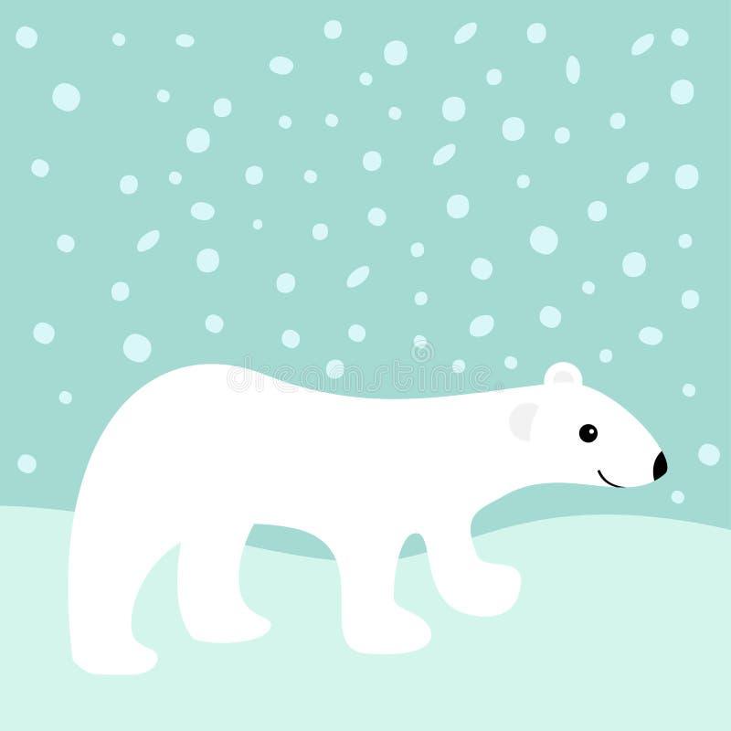 Cachorro de oso blanco polar ártico Carácter lindo del bebé de la historieta snowdrift Diseño plano Fondo azul del invierno con l libre illustration