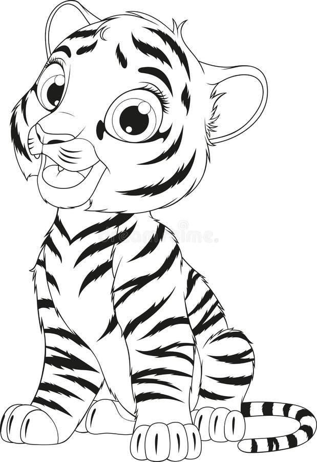 Cachorro de tigre lindo divertido ilustración del vector