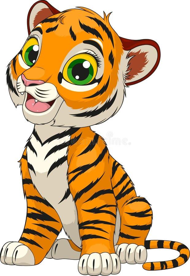 Cachorro de tigre lindo divertido stock de ilustración