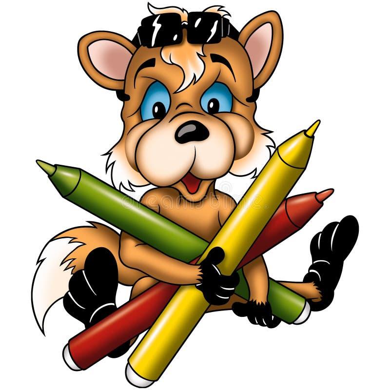 Cachorro del Fox con las etiquetas de plástico stock de ilustración