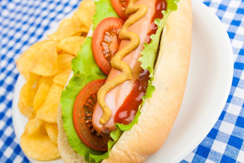 Cachorro quente com microplaquetas de batata foto de stock royalty free