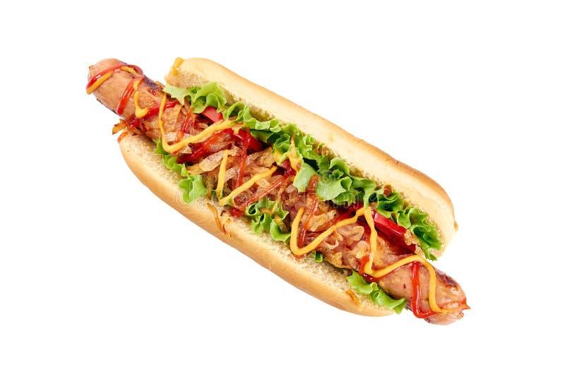 Cachorro quente com salsicha e os vegetais longos no branco foto de stock