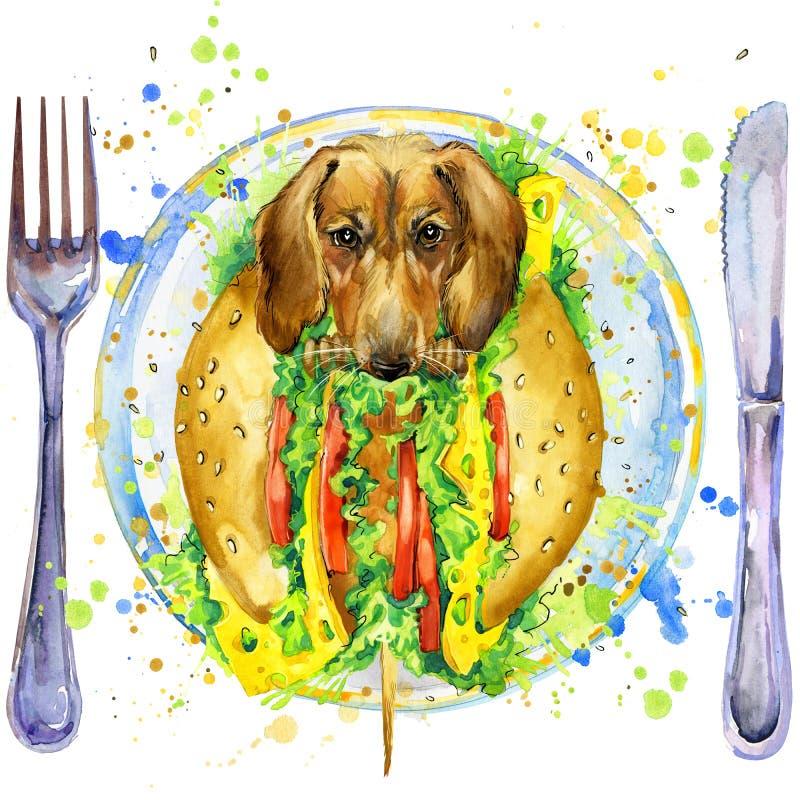 Cachorro quente e fast food engraçados ilustração royalty free