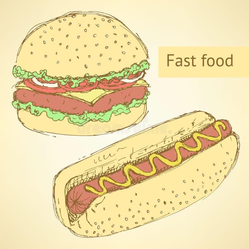 Cachorro quente e Hamburger do esboço no estilo do vintage ilustração royalty free