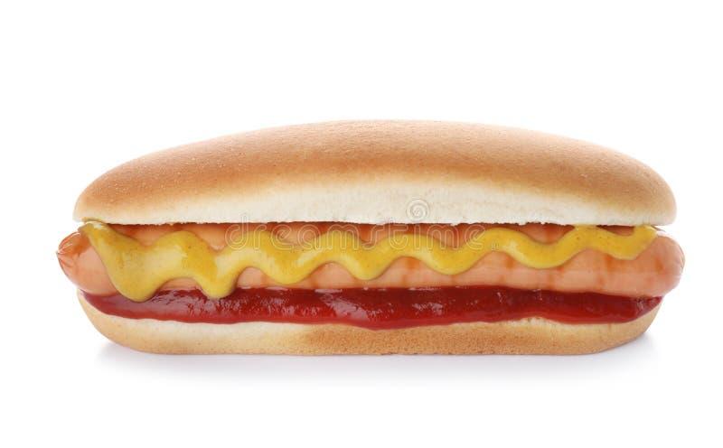 Cachorro quente saboroso com ketchup e mostarda imagem de stock royalty free