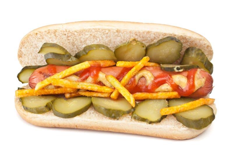 Cachorro quente saboroso com mostarda e ketchup imagem de stock