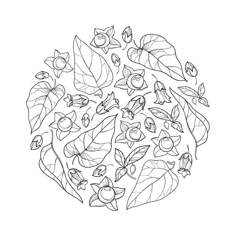 Cachorro redondo vetor com Atropa belladonna tóxica ou flor noturna mortal, botão, baga e folha em preto isolado ilustração royalty free