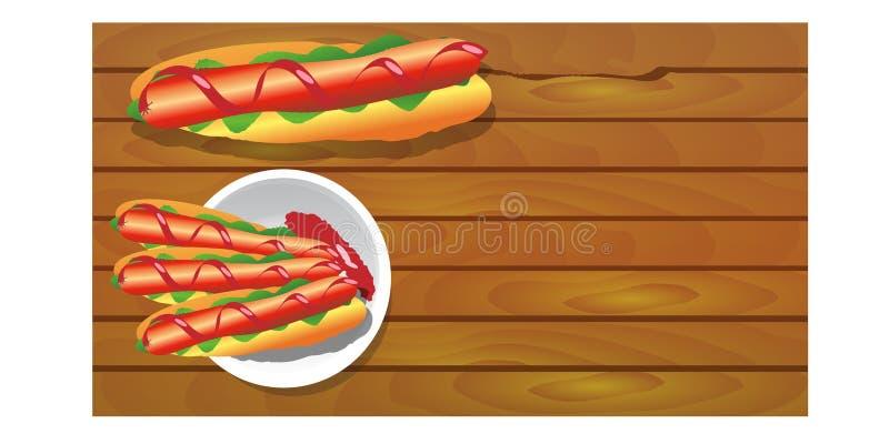 Cachorros quentes com as salsichas na placa, fundo para seu trabalho ilustração do vetor