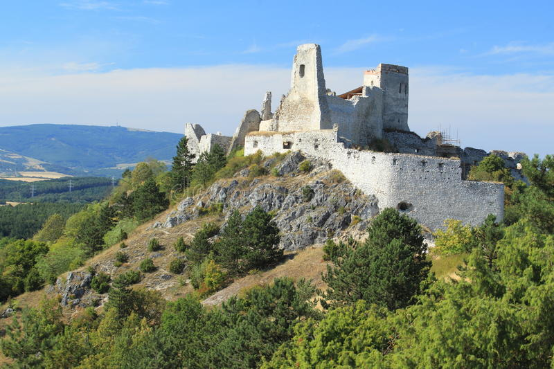 Cachtice castle. The ruins of Cachtice castle, Slovakia stock photo