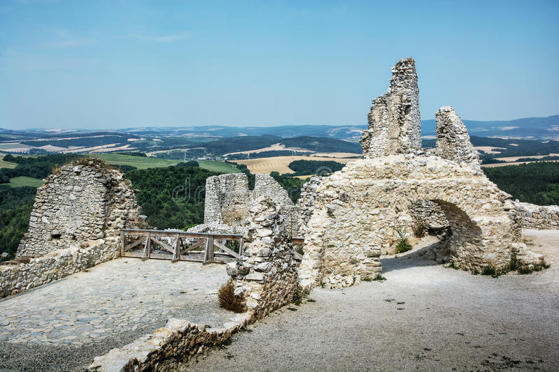 Cachtice castle, Slovak republic, central Europe, architectural. Ruins of the Cachtice castle, Slovak republic, central Europe. Architectural theme. Seat of stock photos