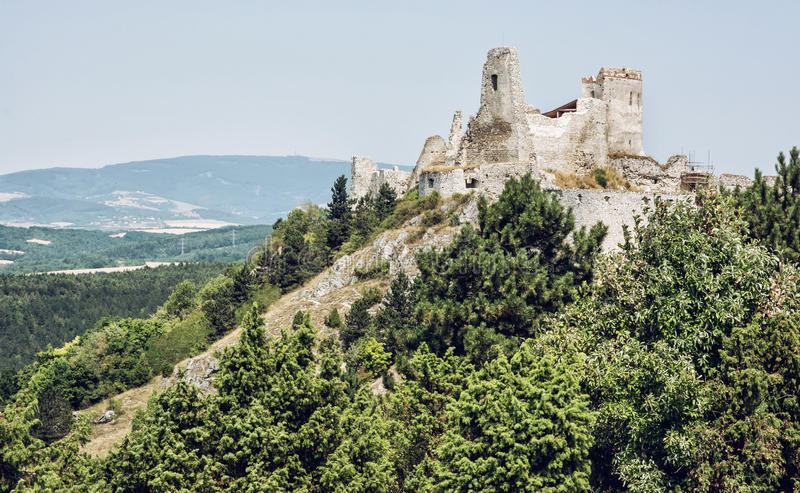 Cachtice castle, Slovak republic, central Europe, seat of bloody. Ruins of the Cachtice castle, Slovak republic, central Europe. Seat of bloody countess. Travel stock photo