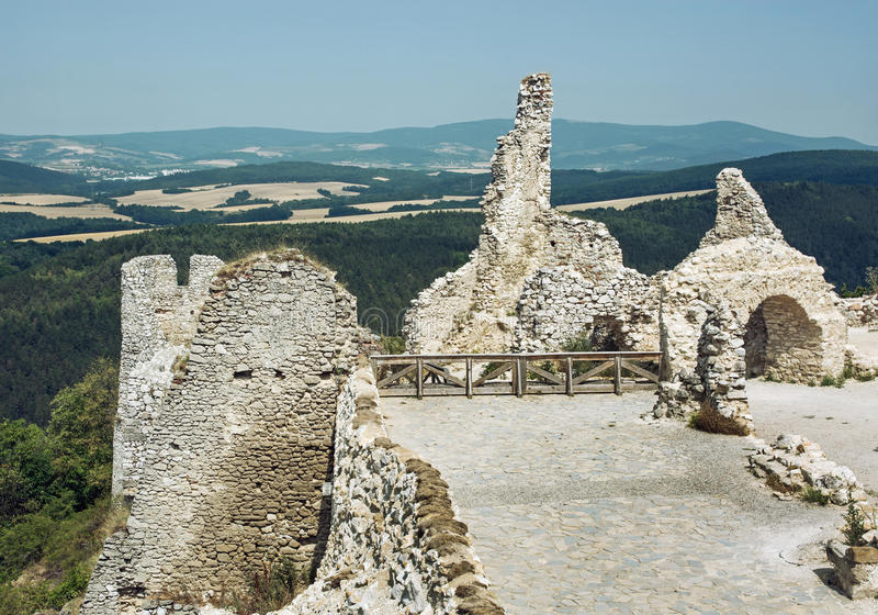 Cachtice castle, Slovak republic, central Europe, travel destination. Ruins of the Cachtice castle, Slovak republic, central Europe. Seat of bloody countess royalty free stock photography