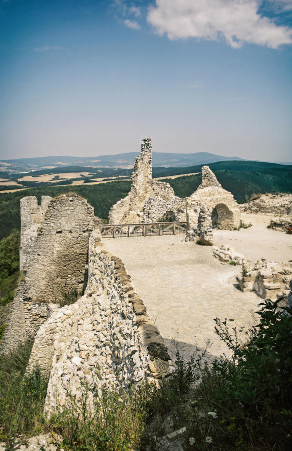 Cachtice castle, Slovak republic, central Europe, vertical compo. Ruins of the Cachtice castle, Slovak republic, central Europe. Seat of bloody countess stock photography