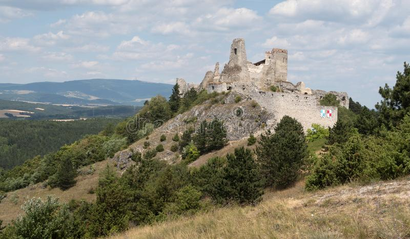 Cachticky hrad - castle ruin. In western Slovakia royalty free stock images