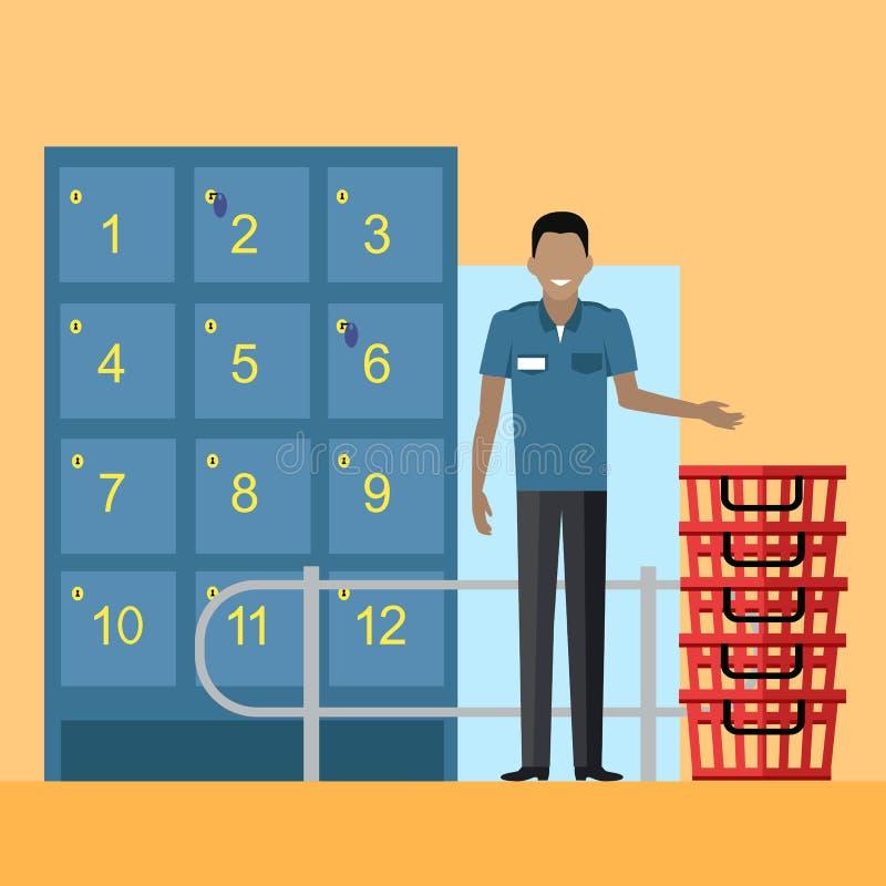 Cacifos e pessoal de segurança no supermercado ilustração stock