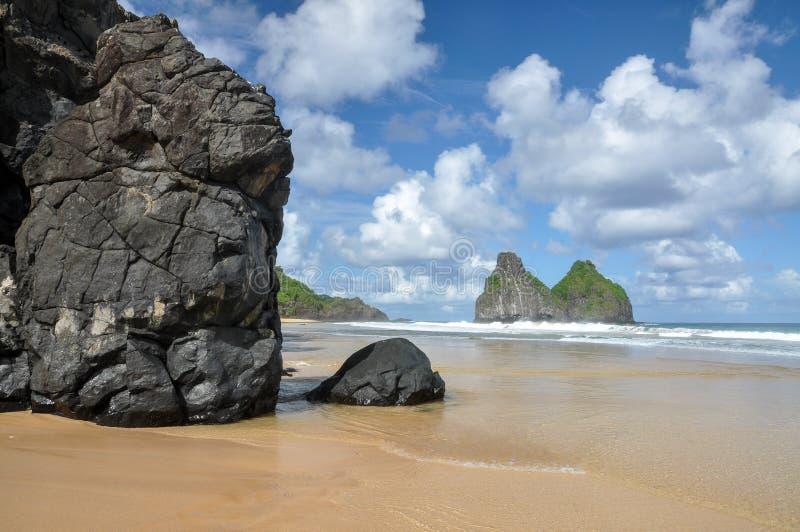Cacimba做Padre海滩,费尔南多・迪诺罗尼亚群岛(巴西) 库存图片