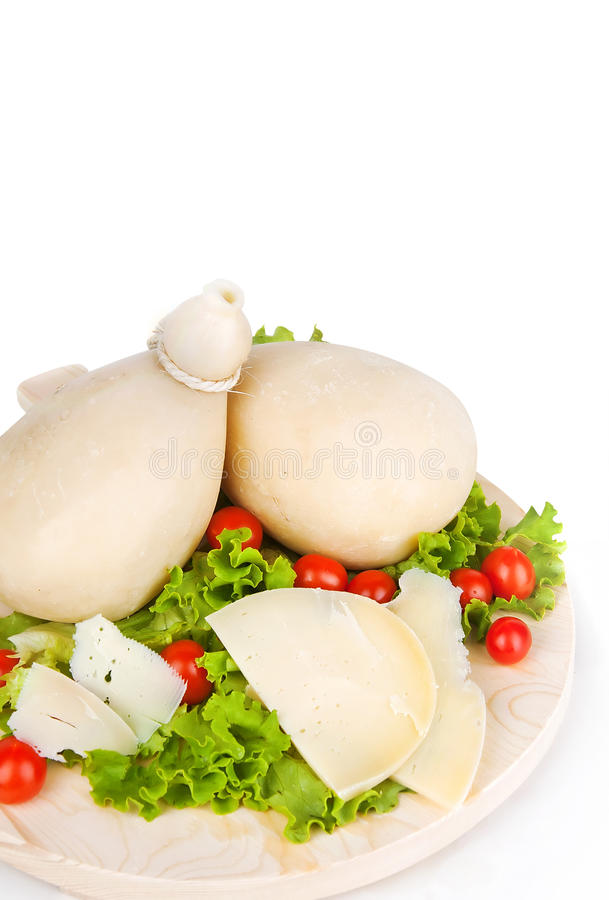 Caciocavallo with tomatoes and salad stock photos