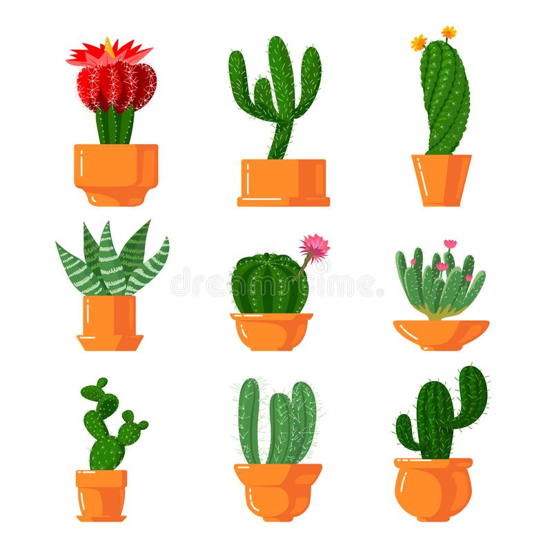 Free Cacti And Succulents Icons Set. Cute Green Cartoon Cactus With Green Thorns And Blooming Blossoms In Flower Pots Stock Photo - 175875110