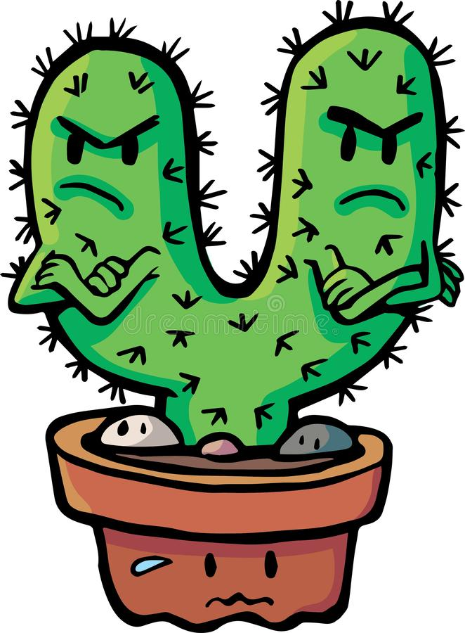 Cacti couple crossed vector illustration