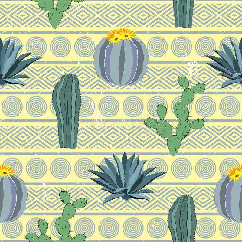 Cacti seamless pattern with geometric background. Vector illustration vector illustration