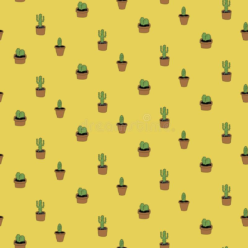 Cacti on yellow royalty free stock photography