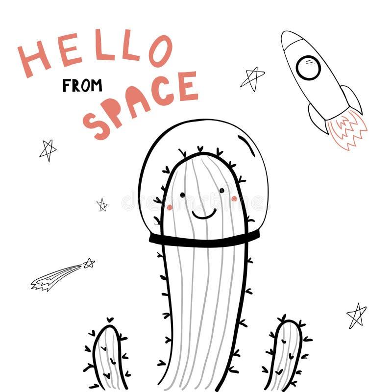 Cacto bonito do espaço ilustração royalty free