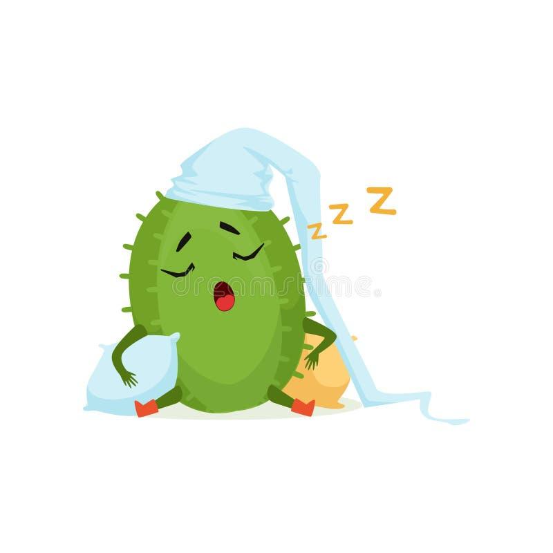 Cacto bonito no chapéu branco que dorme e que ressona, ilustração engraçada do vetor dos desenhos animados do caráter da planta ilustração stock