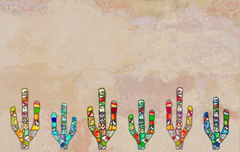 Cacto colorido do mosaico na parede rendida textured ilustração stock