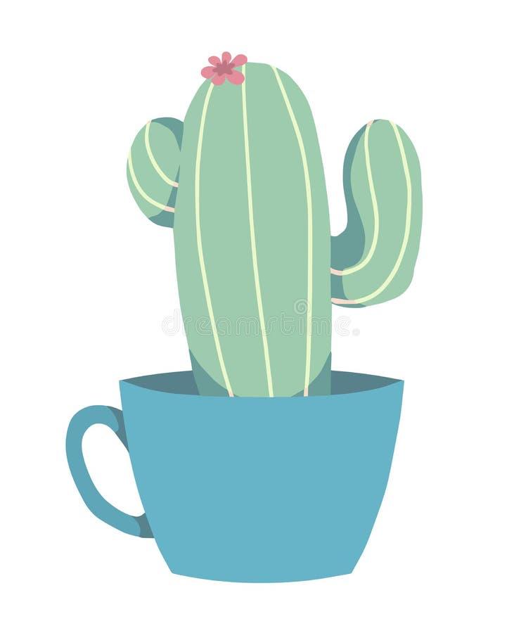 Cacto de florescência verde do estilo dos desenhos animados no gráfico de vetor isolado do potenciômetro de flor da cerceta ilustração do vetor