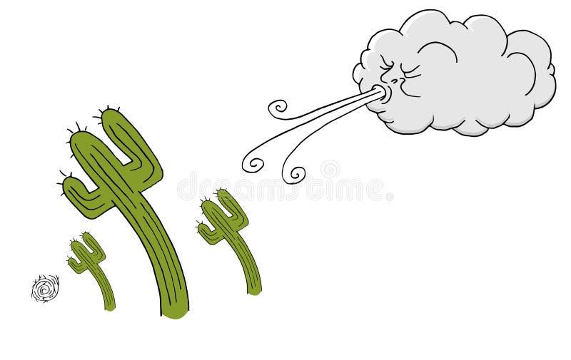 Cacto de Windy Day e vento de sopro da nuvem ilustração do vetor