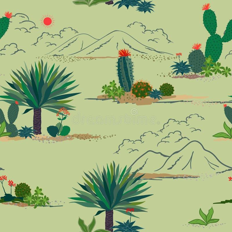 Cacto do desenho da mão e teste padrão sem emenda das plantas suculentos no fundo verde pastel, para decorativo, forma, tela, m ilustração royalty free