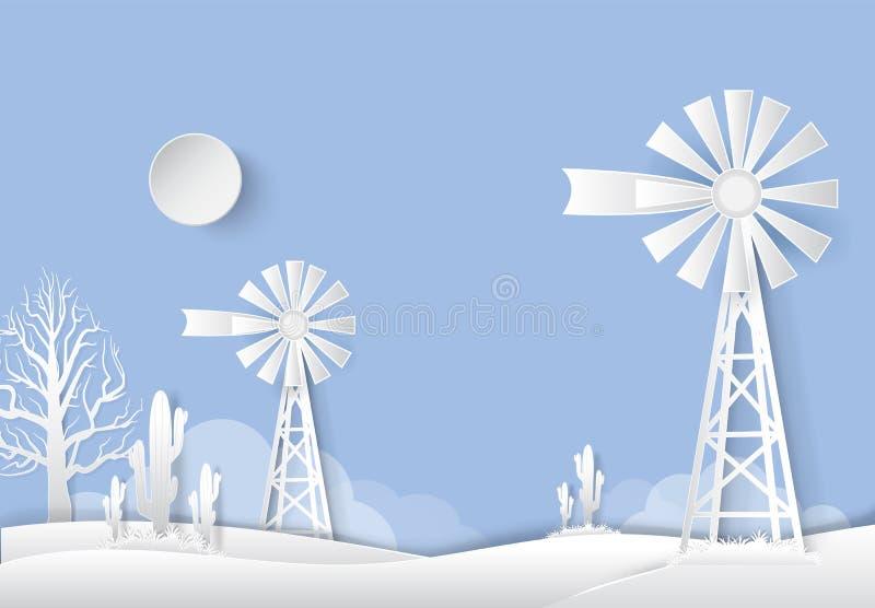 Cacto do moinho de vento e do Saguaro no campo secado do campo Papel AR ilustração do vetor