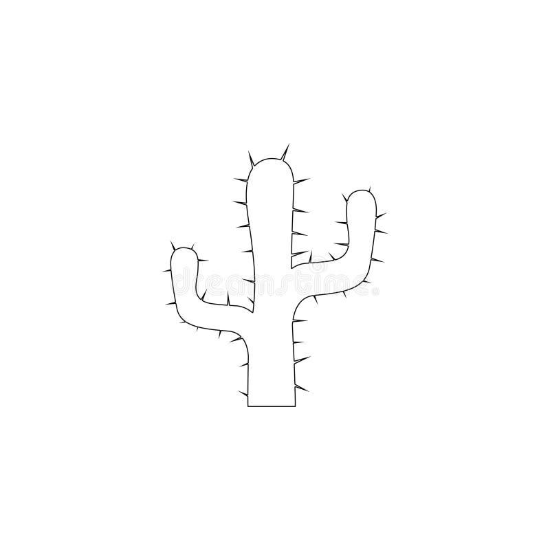 Cacto do Saguaro - bra?os entrela?ados ?cone liso do vetor ilustração stock