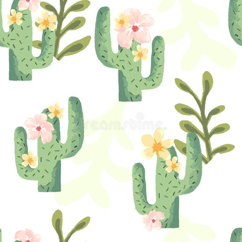 Cacto e cópia tropicais da folha de palmeira com flores pasteis ilustração stock