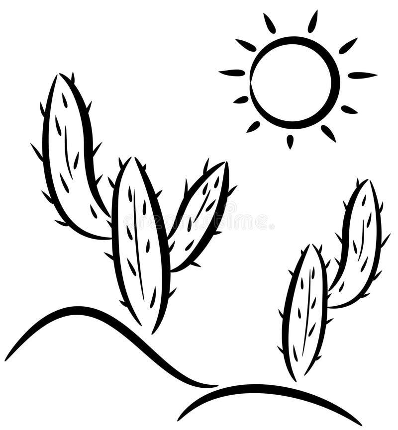 Cacto en desierto stock de ilustración