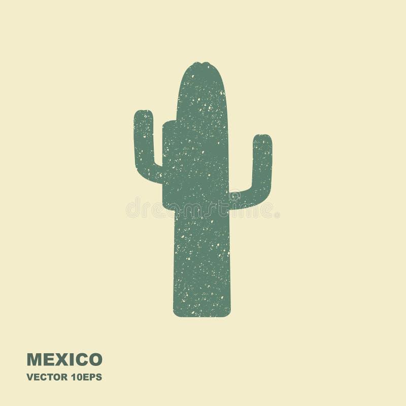 Cacto mexicano Ícone liso estilizado com efeito arrastado ilustração stock