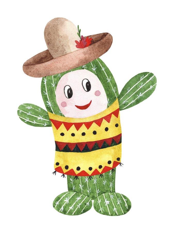 Cacto mexicano do verde da aquarela no sombreiro ilustração do vetor