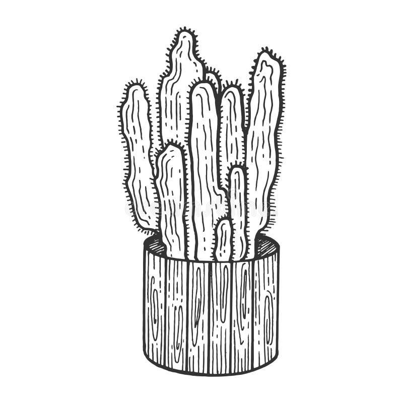 Cacto no vetor da gravura do esboço do potenciômetro de flor ilustração do vetor