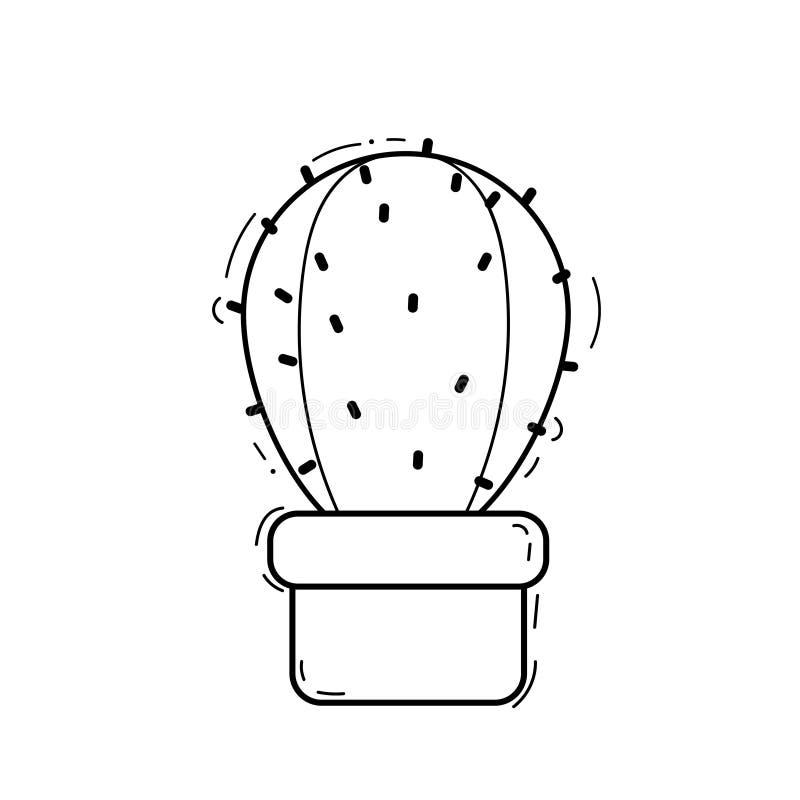 Cacto preto e branco bonito dos desenhos animados - ilustração do vetor ilustração do vetor