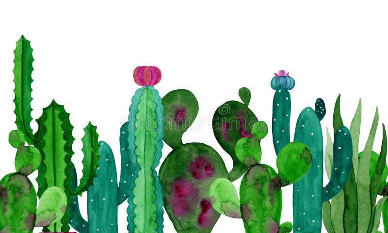 Cactos da bandeira da aquarela e flores das plantas carnudas ilustração do vetor