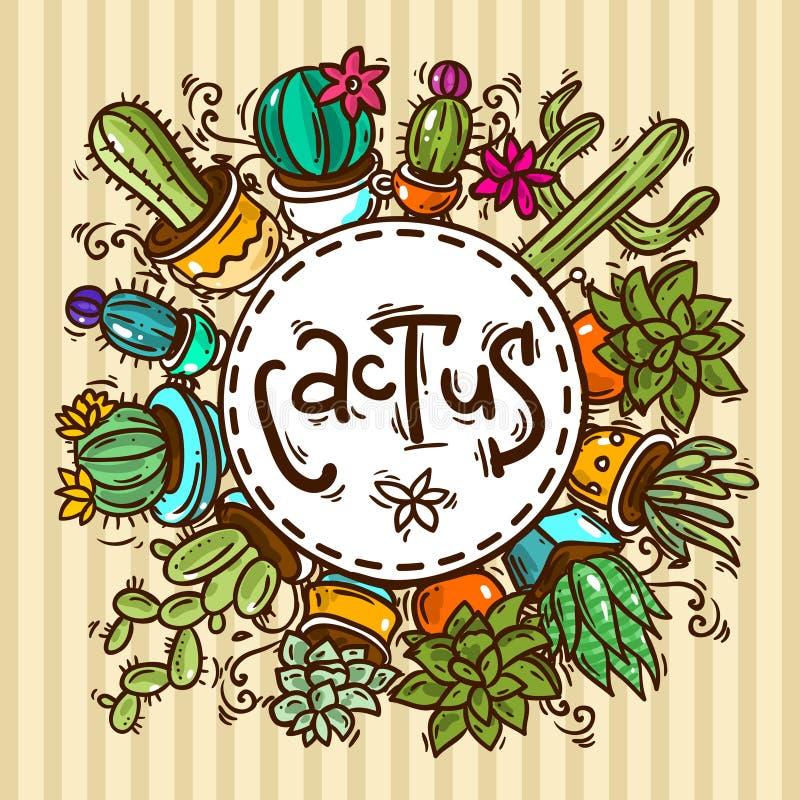 Cactos e succulents ilustração do vetor