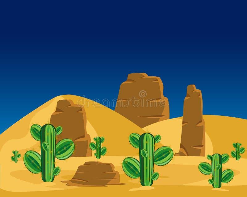 Cactos no deserto ilustração do vetor