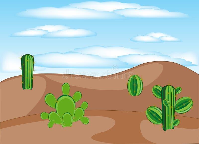 Cactos no deserto ilustração royalty free