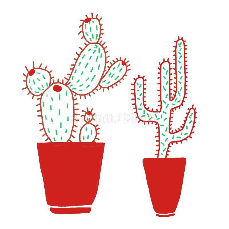 Cactos tirados mão com os potenciômetros vermelhos no fundo branco no estilo escandinavo minimalistic ilustração stock