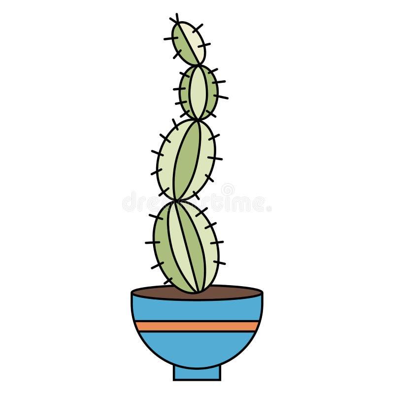 Cactus alto en un pote Planta casera en estilo plano del vector ilustración del vector