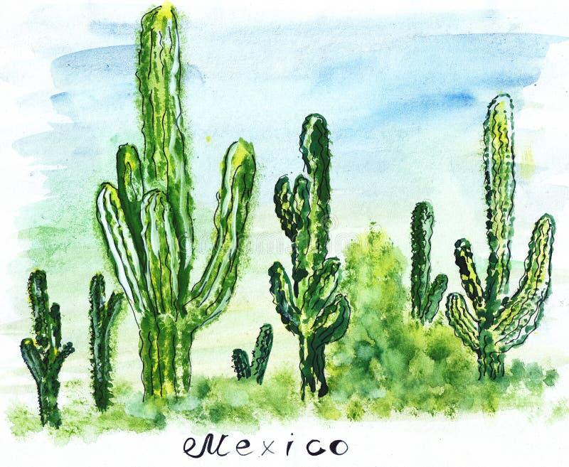 Cactus alto grande de la señal del bosquejo del ejemplo stock de ilustración