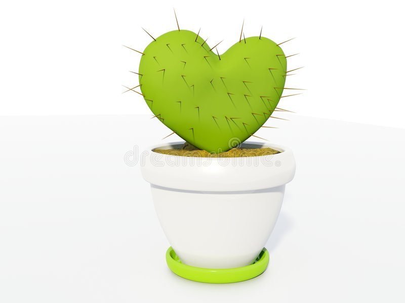 Cactus as heart stock images