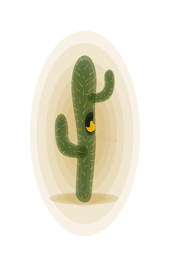 Cactus avec l'oiseau image stock