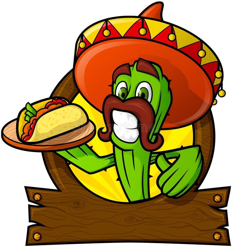 Cactus bienveillant avec un Taco mexicain illustration de vecteur